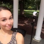Christi Fenison in front of the Old Well. Taken with a 360 camera.